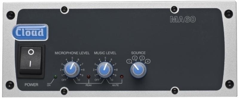 MA60 mixážní systém se zesilovačem / MA60Media mixážní systém se zesilovačem a vestavěným přehrávačem MP3/WMA