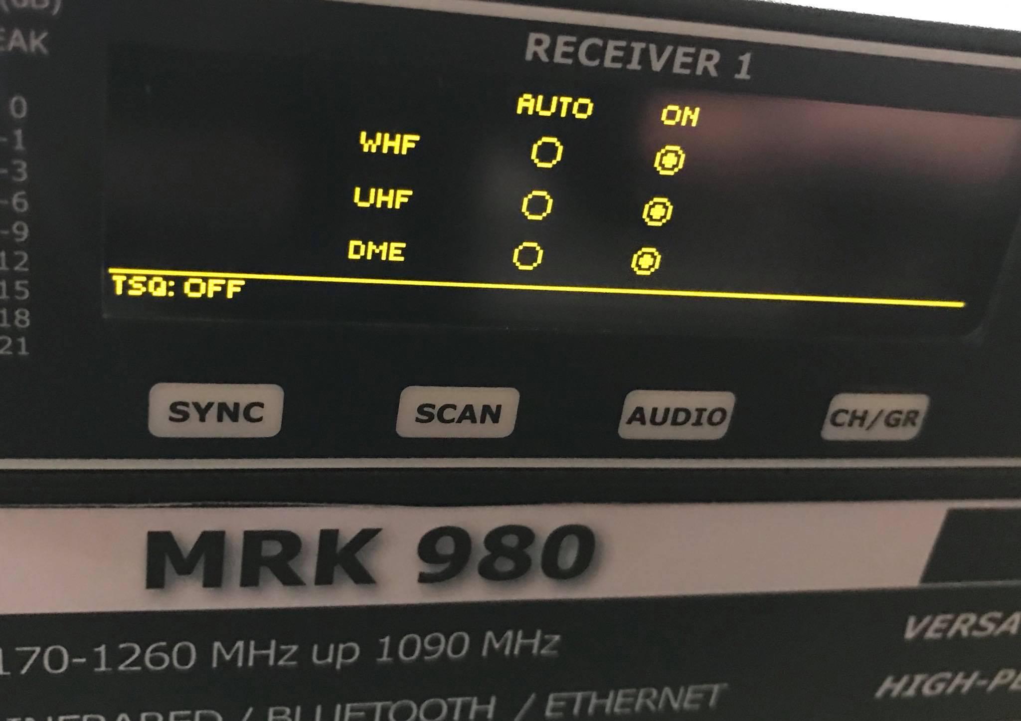 Specifikace dvoukanálového přijímače Wisycom MRK980: